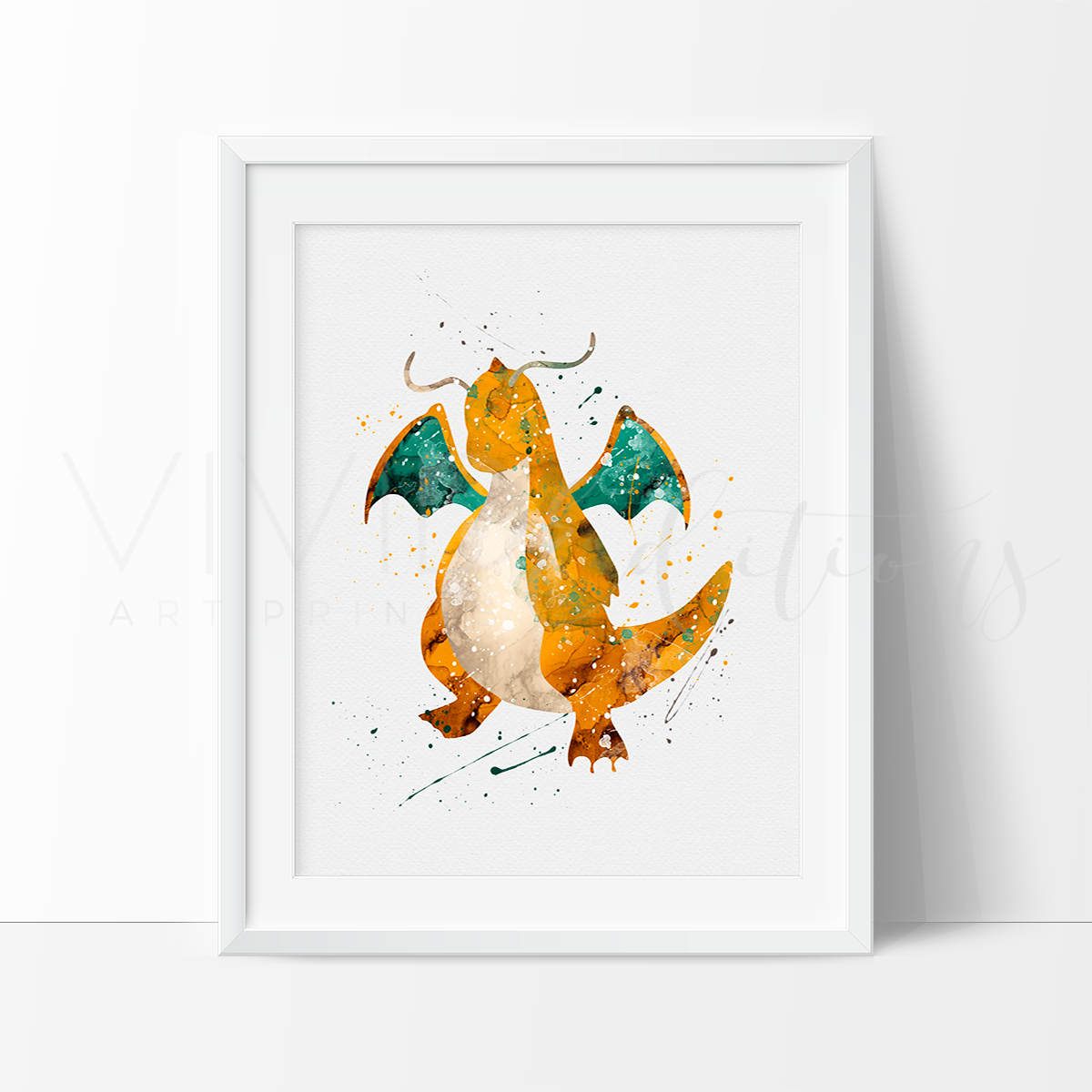 Dragonite, Pokemon Go Watercolor Art Print Art Print - VIVIDEDITIONS