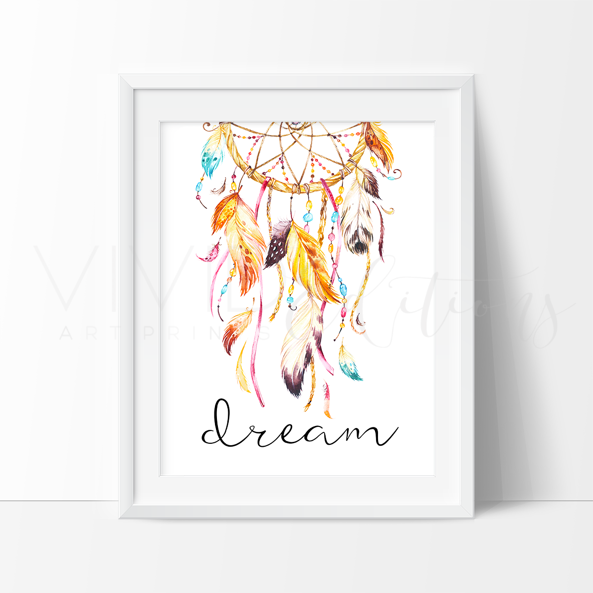 Dream, Dreamcatcher Watercolor Art Print Art Print - VIVIDEDITIONS