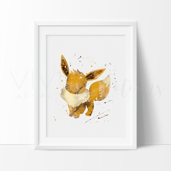 Eevee 2, Pokemon Go Watercolor Art Print Art Print - VIVIDEDITIONS