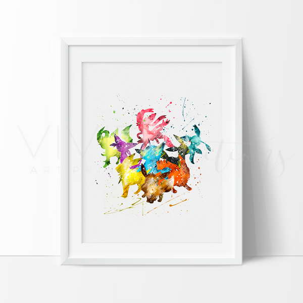 Eevee, Pokemon Go Watercolor Art Print Art Print - VIVIDEDITIONS