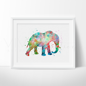 Elephant Watercolor Art Print Art Print - VIVIDEDITIONS