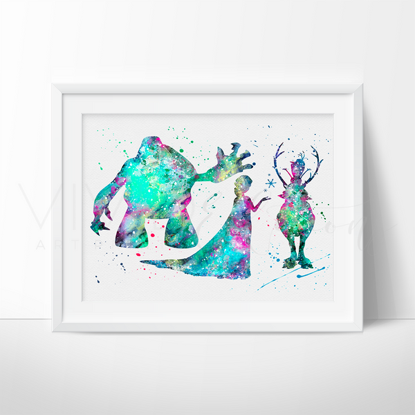 Marshmallow, Princess Elsa, Sven & Olaf Watercolor Art Print Art Print - VIVIDEDITIONS