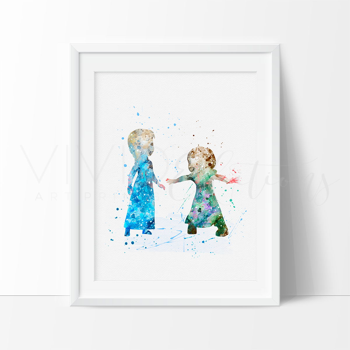 Princess Elsa & Anna 4 Art Print - VIVIDEDITIONS