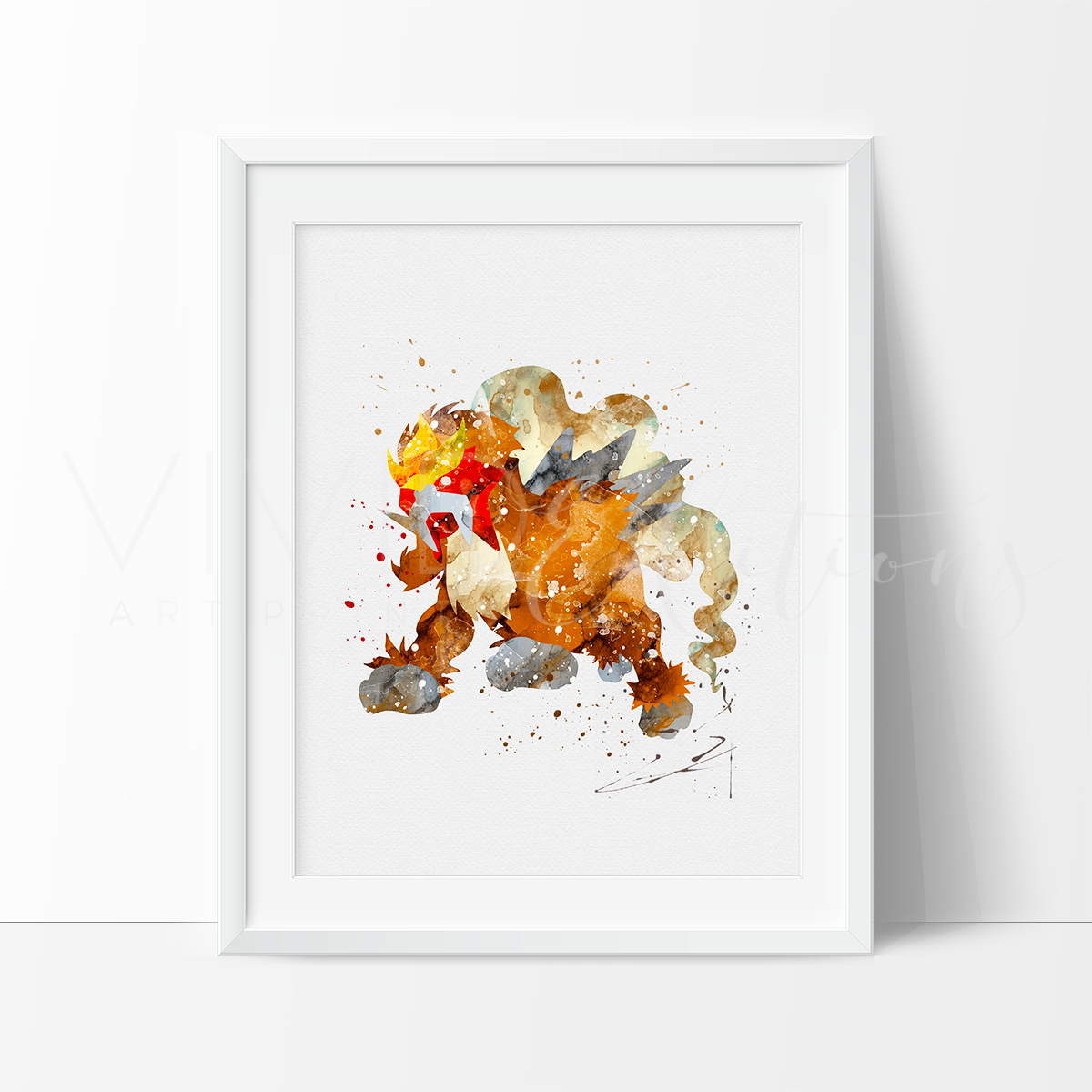 Entei, Pokemon Watercolor Art Print Art Print - VIVIDEDITIONS