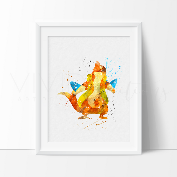 Floatzel, Pokemon Watercolor Art Print Art Print - VIVIDEDITIONS
