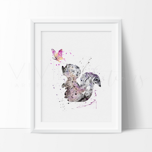 Flower the Skunk Watercolor Art Print Art Print - VIVIDEDITIONS