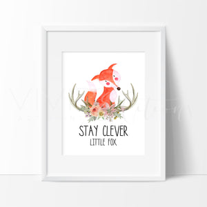 Stay Clever Little Fox Watercolor Art Print Art Print - VIVIDEDITIONS