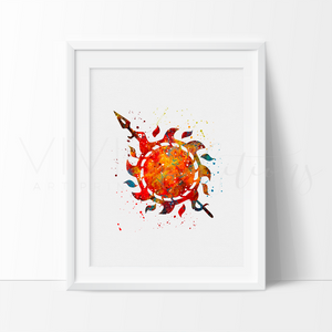 Game of Thrones, House Martell Watercolor Art Print Art Print - VIVIDEDITIONS