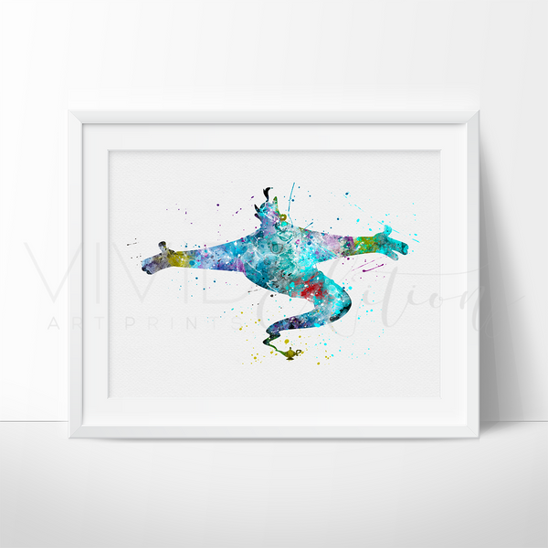 Genie, Aladdin Watercolor Art Print Art Print - VIVIDEDITIONS
