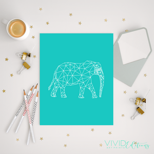 Geometric Poly Elephant, Teal Art Print - VIVIDEDITIONS