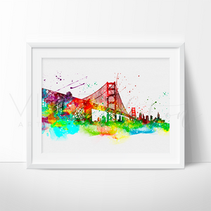 Golden Gate Bridge, San Francisco Skyline Watercolor Art Print Art Print - VIVIDEDITIONS
