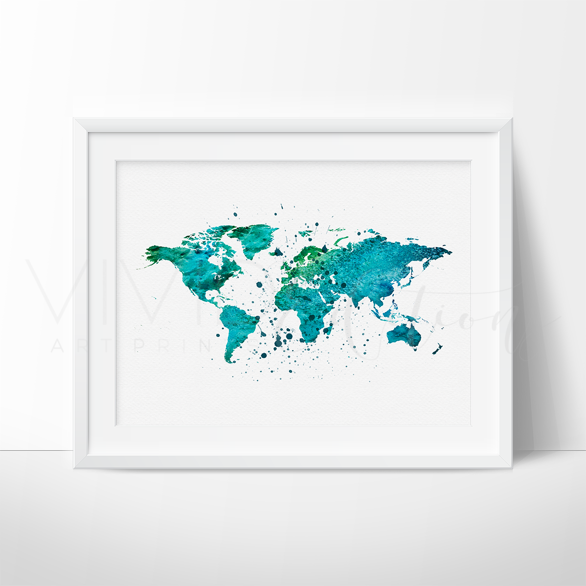Maps skylines vivideditions world map green watercolor art print gumiabroncs Choice Image