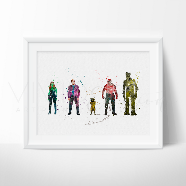 Guardians of the Galaxy Watercolor Art Print Art Print - VIVIDEDITIONS