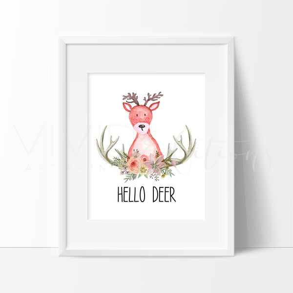 Hello Deer Watercolor Art Print Art Print - VIVIDEDITIONS