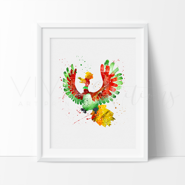 Ho-Oh, Pokemon Watercolor Art Print Art Print - VIVIDEDITIONS