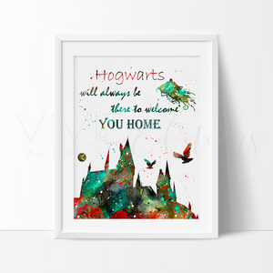 Hogwarts Quote, Harry Potter Watercolor Art Print Art Print - VIVIDEDITIONS