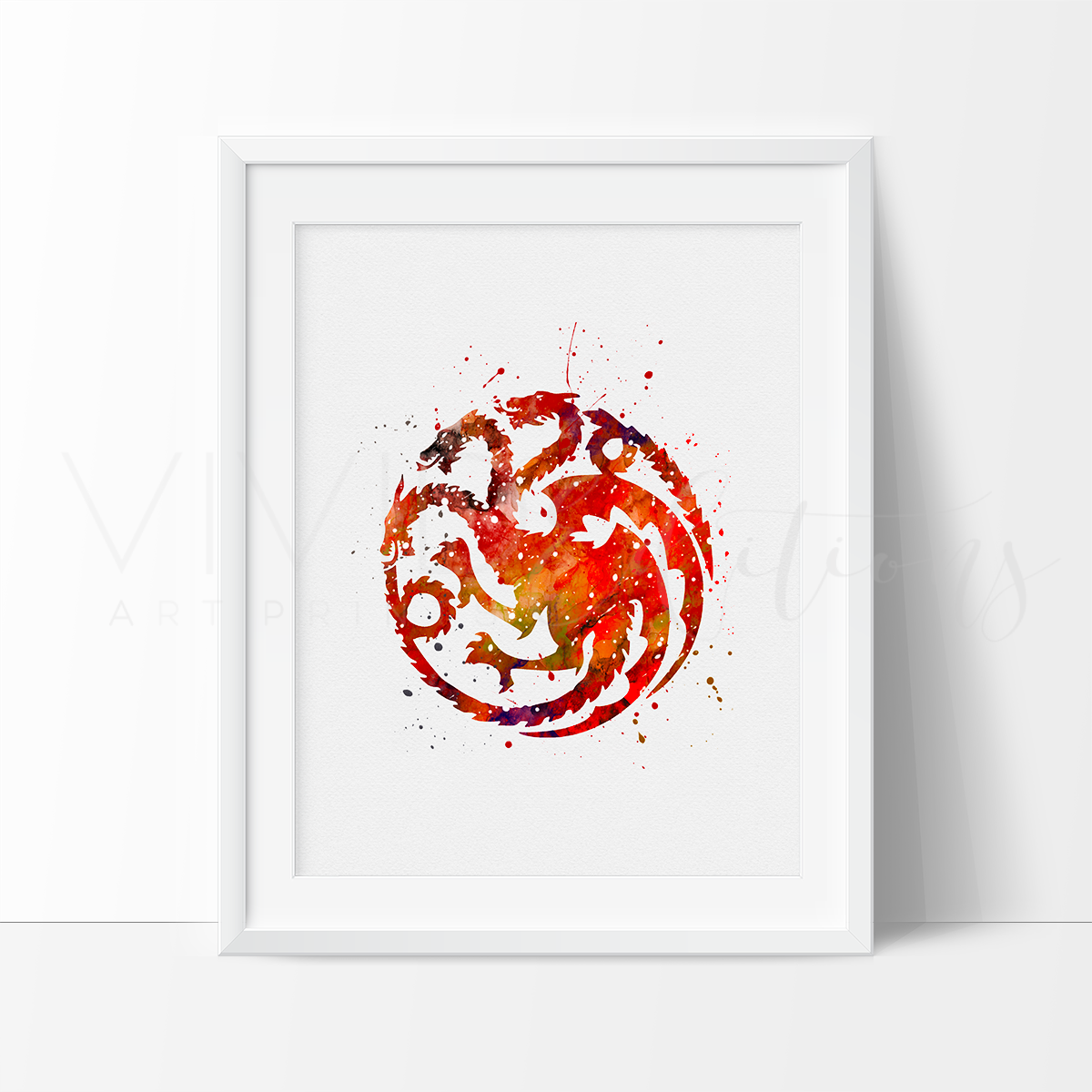 Game of Thrones, House Targaryen Watercolor Art Print Art Print - VIVIDEDITIONS