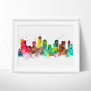Houston Skyline Watercolor Art Print Wall Decor