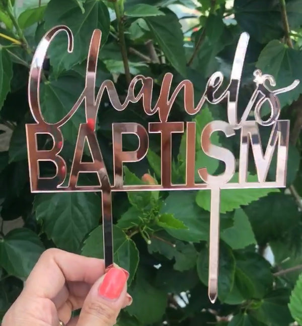 Personalized Baptism Cake Topper