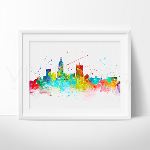 Indianapolis Skyline Watercolor Art Print Art Print - VIVIDEDITIONS