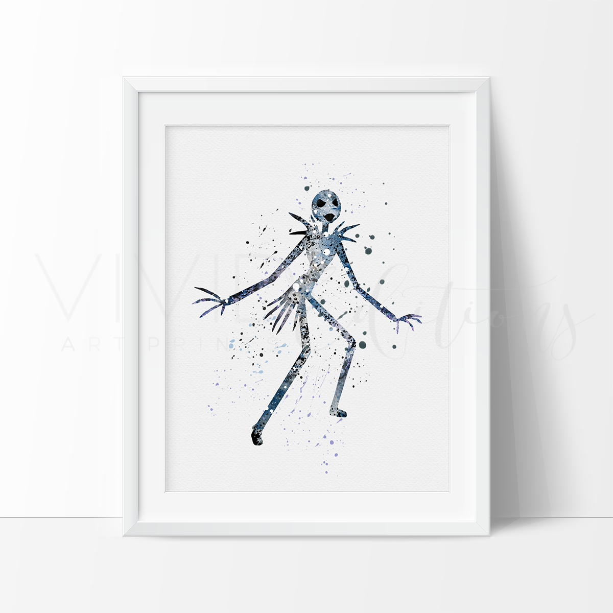 Jack Skellington Watercolor Art Print Art Print - VIVIDEDITIONS