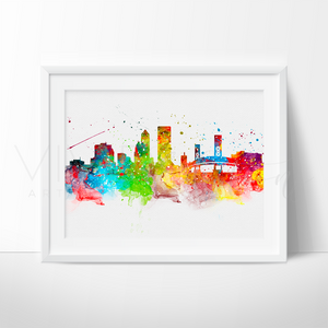 Jacksonville Skyline Watercolor Art Print Wall Decor