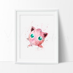 Jigglypuff, Pokemon Go Watercolor Art Print Art Print - VIVIDEDITIONS
