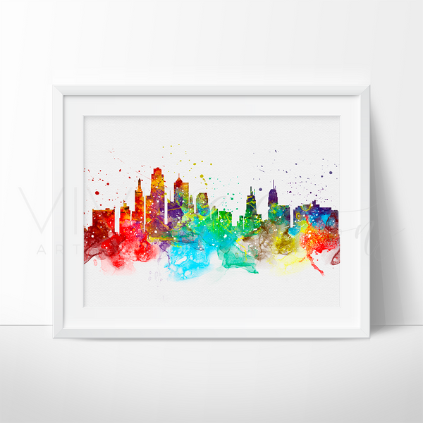 Kasas City Skyline Watercolor Art Print Art Print - VIVIDEDITIONS