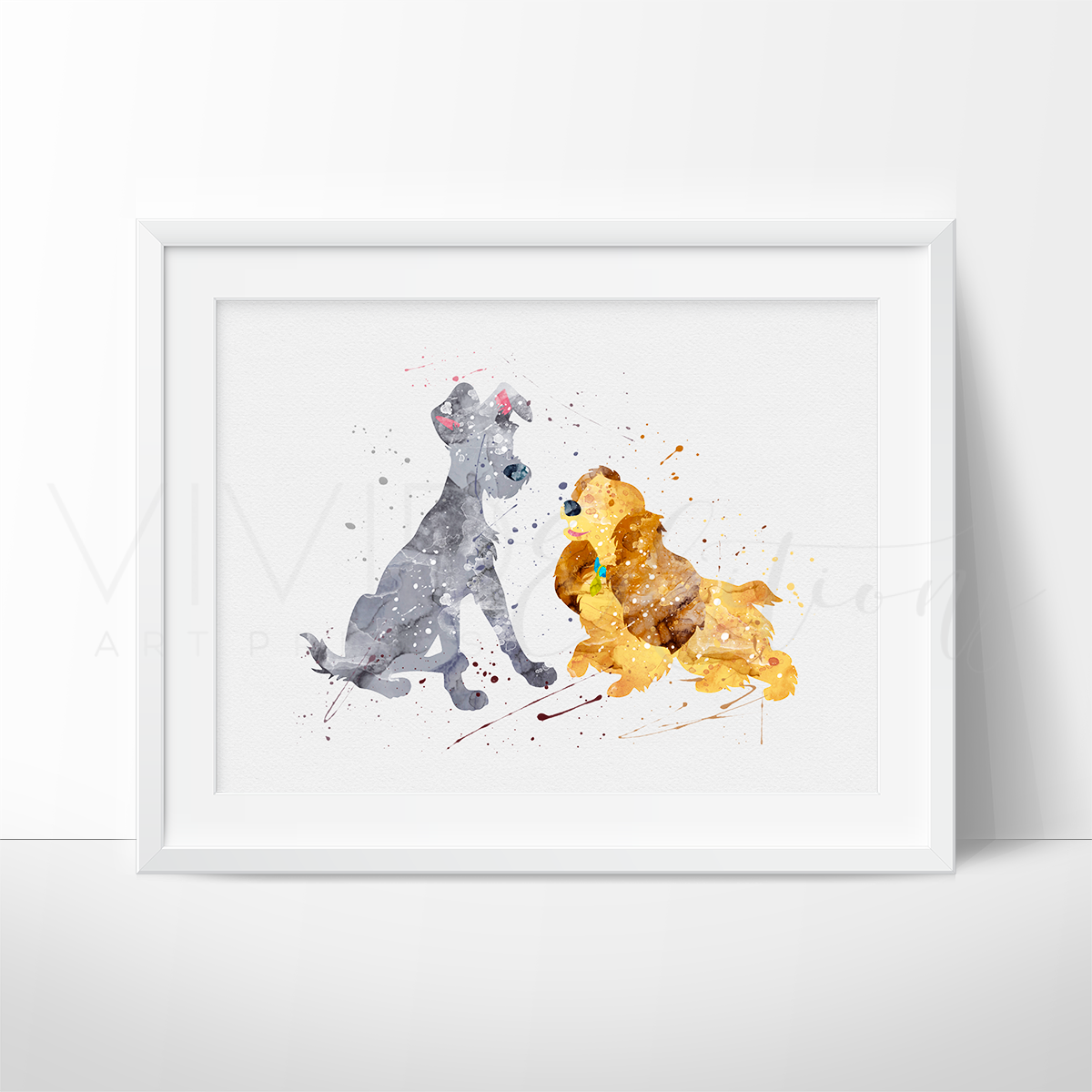 Lady and the Tramp Watercolor Art Print Art Print - VIVIDEDITIONS