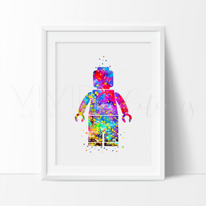 Lego Man Nursery Art Print Wall Decor