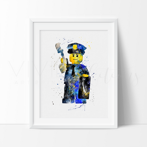 Lego Police Man Nursery Art Print Wall Decor
