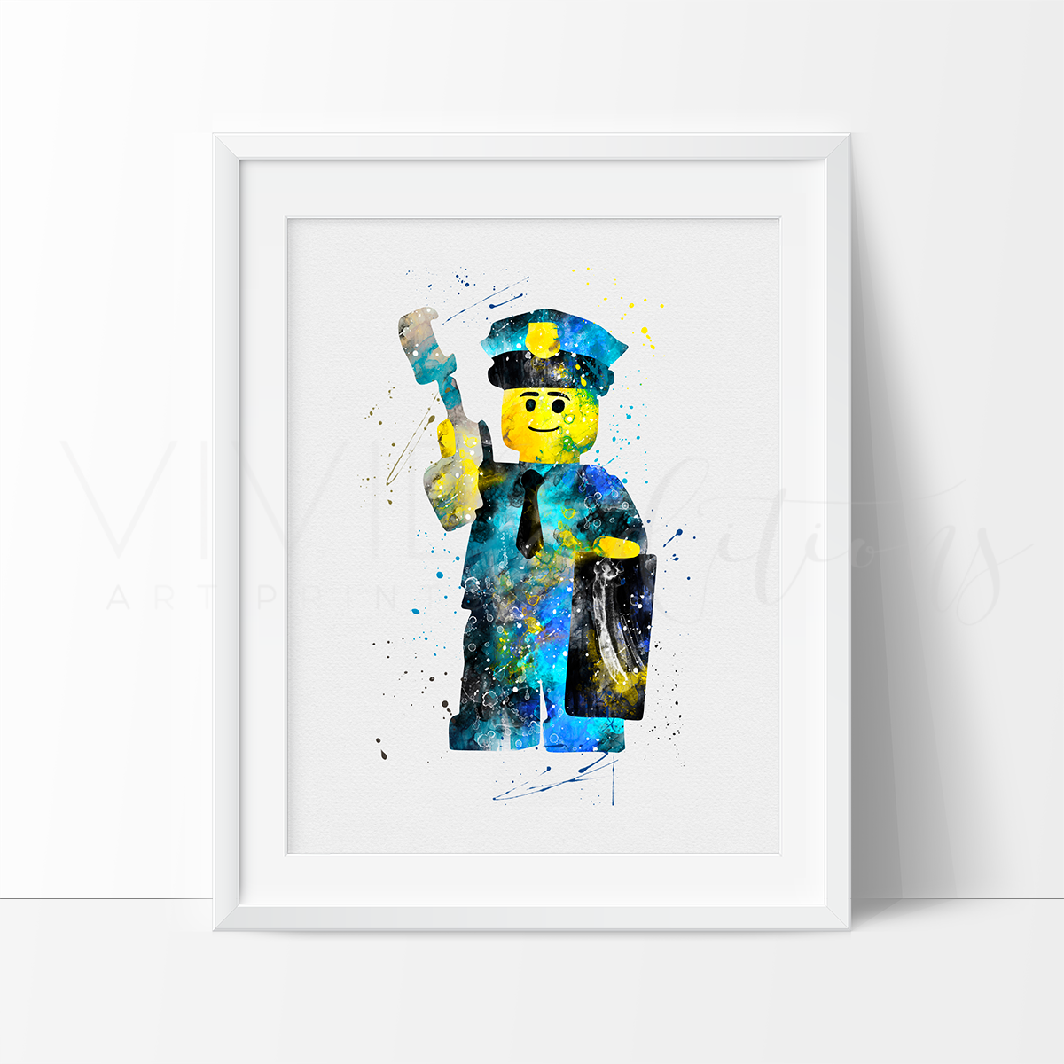 Lego Policeman 2 Watercolor Art Print Art Print - VIVIDEDITIONS