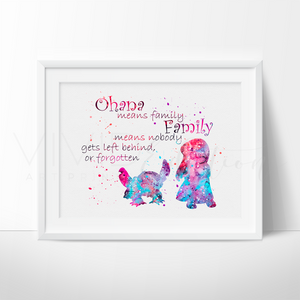 Lilo & Stitch Quote 2 Watercolor Art Print Art Print - VIVIDEDITIONS