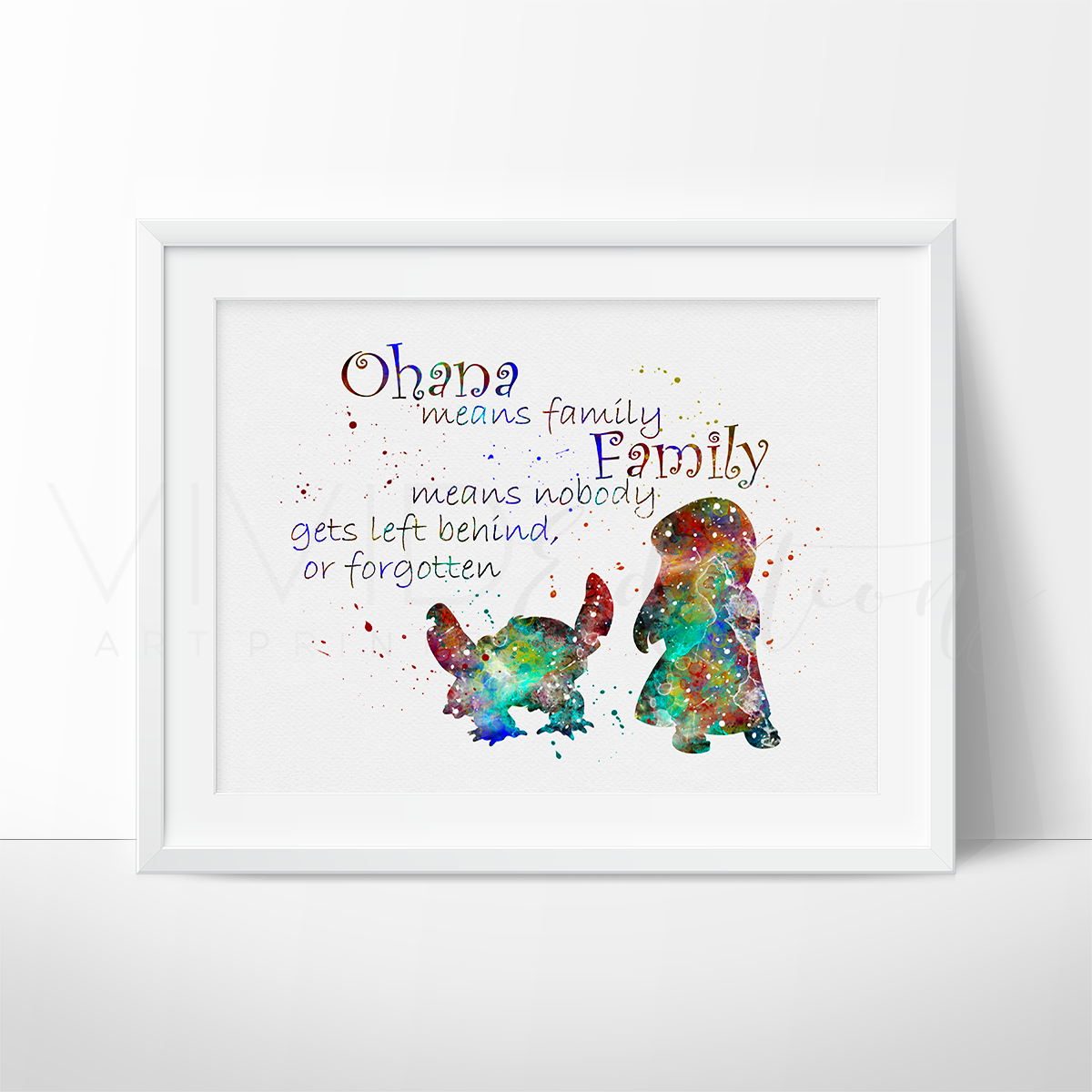 Lilo & Stitch Quote Watercolor Art Print Art Print - VIVIDEDITIONS