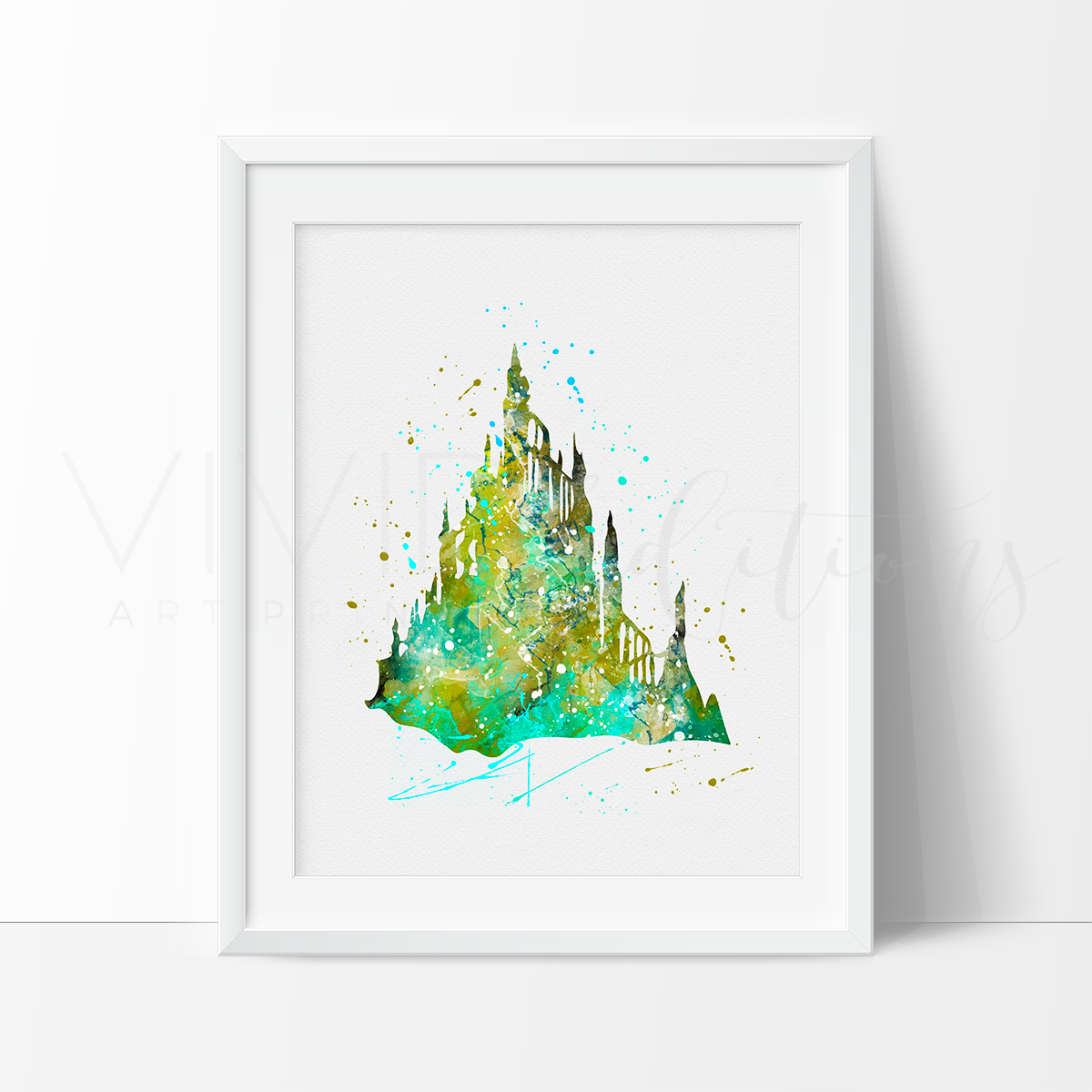 Little Mermaid Castle Watercolor Art Print Art Print - VIVIDEDITIONS