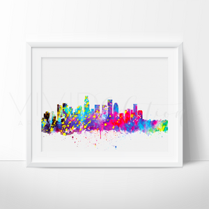 Los Angeles Skyline Watercolor Art Print Art Print - VIVIDEDITIONS
