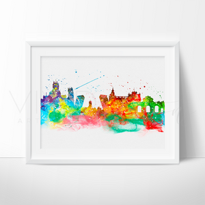 Madrid Skyline Watercolor Art Print Art Print - VIVIDEDITIONS