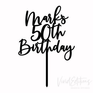 CUSTOM CAKE TOPPER: Mark's 50th Birthday Art Print - VIVIDEDITIONS