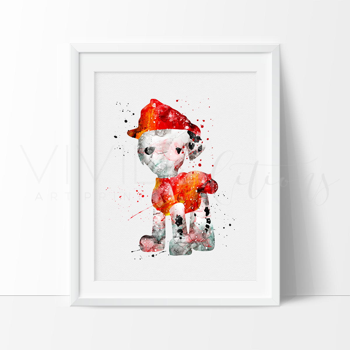 Marshall, Paw Patrol Watercolor Art Print Art Print - VIVIDEDITIONS