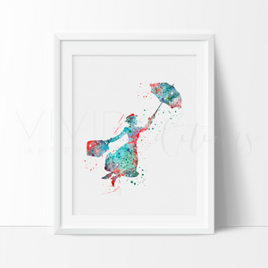 Mary Poppins 2 Watercolor Art Print Art Print - VIVIDEDITIONS