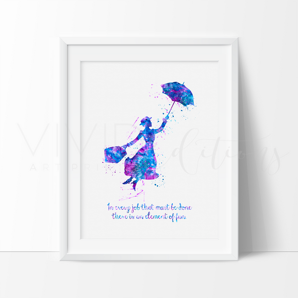 Mary Poppins Quote Watercolor Art Print Art Print - VIVIDEDITIONS