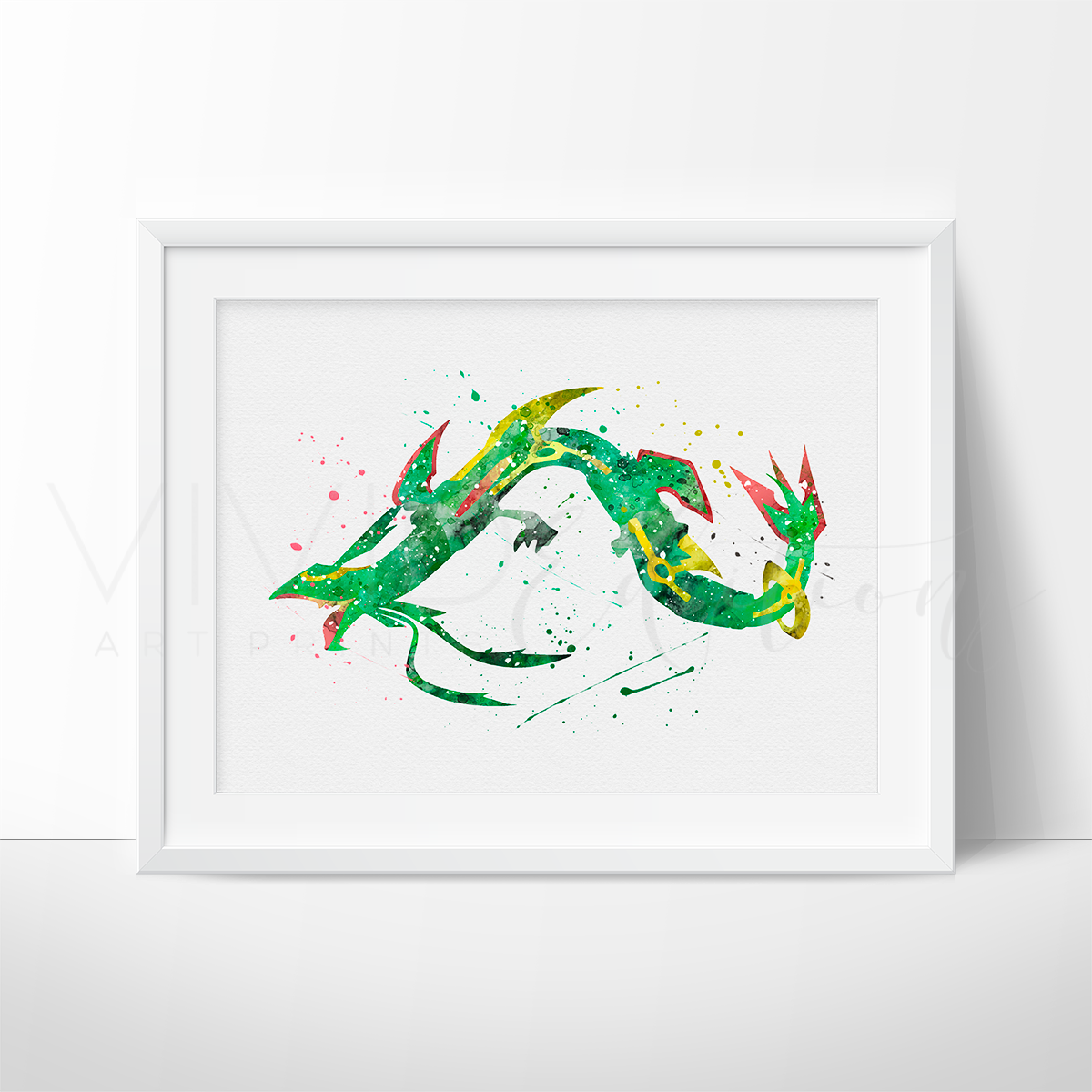 Mega Rayquaza, Pokemon Watercolor Art Print Art Print - VIVIDEDITIONS