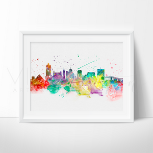 Memphis Skyline Watercolor Art Print Art Print - VIVIDEDITIONS