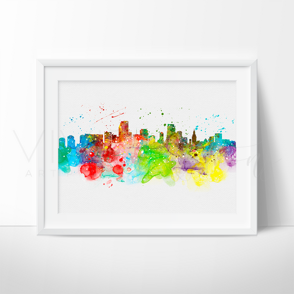 Miami Skyline Watercolor Art Print Art Print - VIVIDEDITIONS