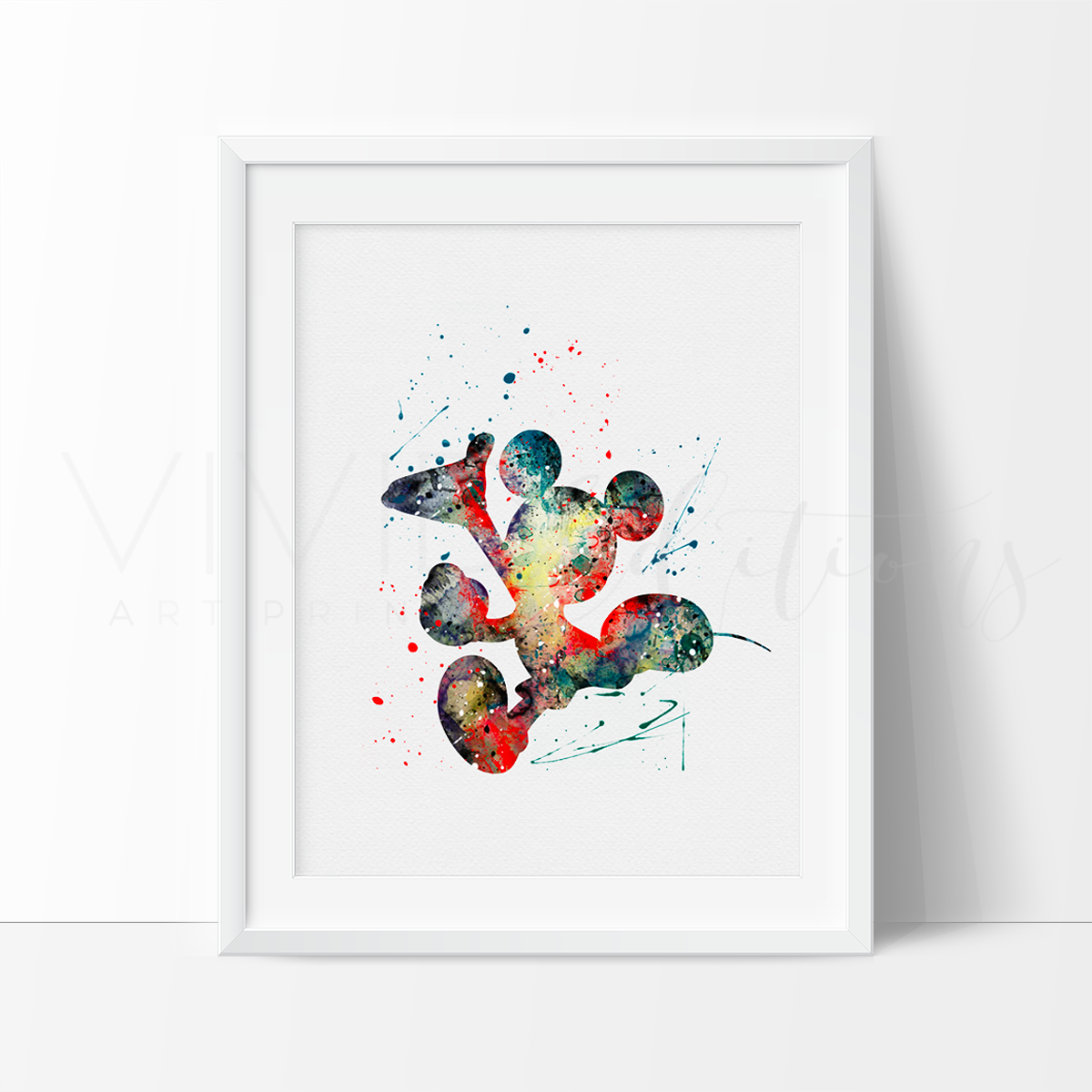 Mickey Mouse 5 Watercolor Art Print Art Print - VIVIDEDITIONS