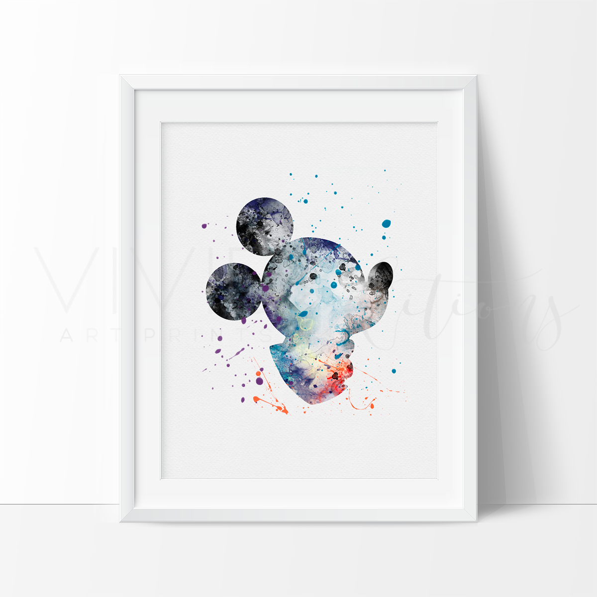 Mickey Mouse 4 Watercolor Art Print Art Print - VIVIDEDITIONS