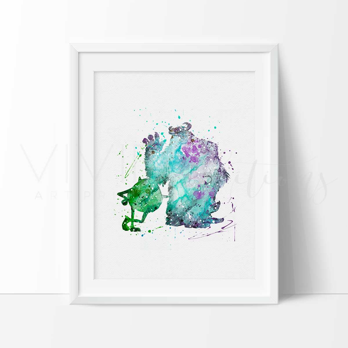 Mike & Sulley 2 Watercolor Art Print Art Print - VIVIDEDITIONS