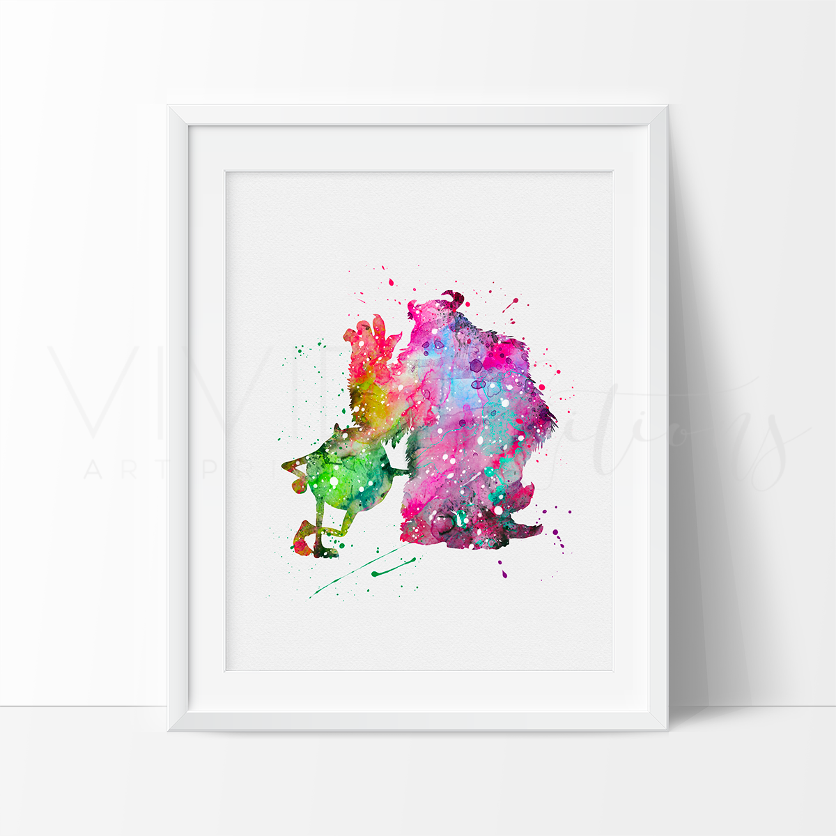 Mike & Sulley Watercolor Art Print Art Print - VIVIDEDITIONS