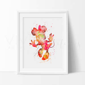 Minnie Mouse 2 Watercolor Art Print Art Print - VIVIDEDITIONS