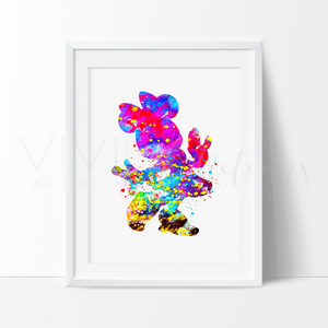 Minnie Mouse 4 Watercolor Art Print Art Print - VIVIDEDITIONS